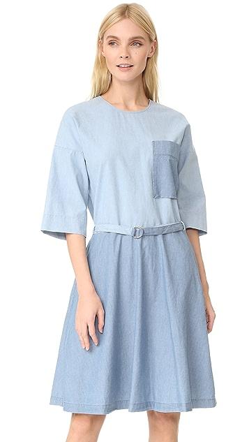 Maison Kitsune Chambray Jade Loose Cut Dress