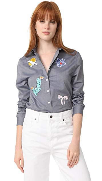 Maison Kitsune Embroidered Baby Collar Shirt