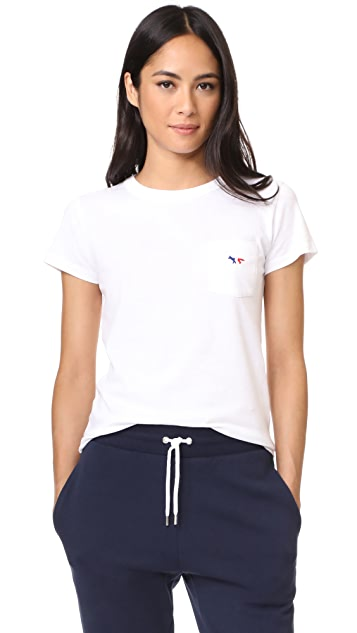 Maison Kitsune Tricolor Fox Patch Tee Shirt