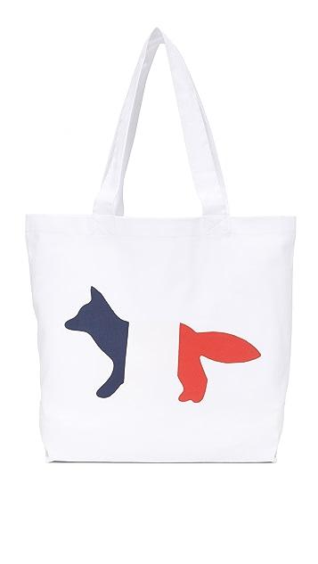 Maison Kitsune Tricolor Fox Tote
