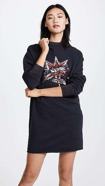 Maison Kitsune Sequin Sweatshirt Dress