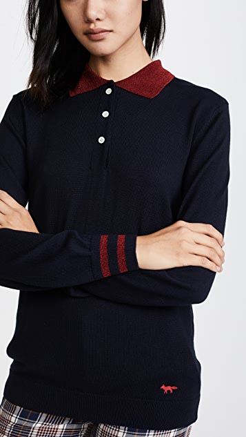 Maison Kitsune Shiny Collar Polo Shirt
