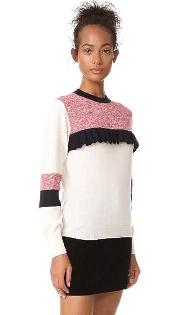Maison Kitsune Merino Flounced Pullover