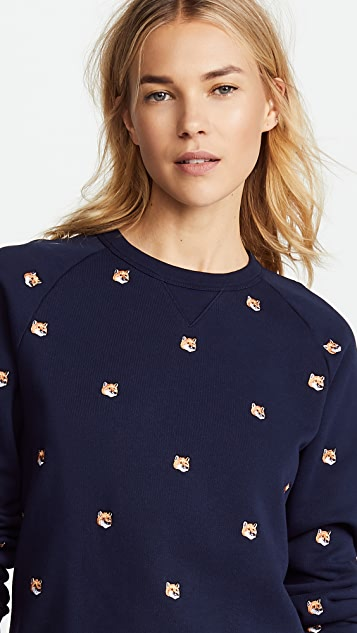 Maison Kitsune Fox Head Embroidery Sweatshirt