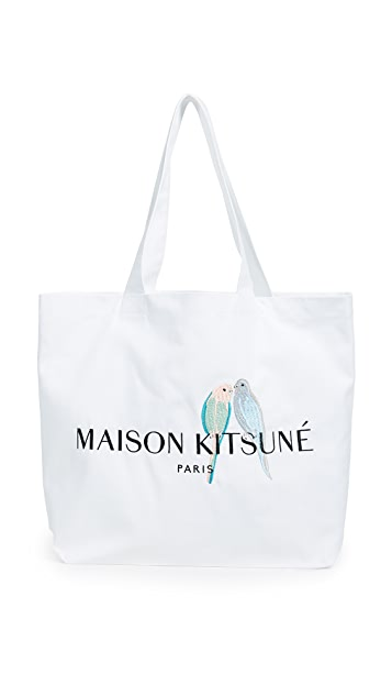 Maison Kitsune Lovebirds Tote Bag
