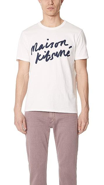 Maison Kitsune Short Sleeve Handwriting T-Shirt