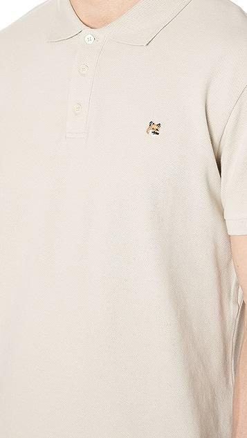 Maison Kitsune Polo Shirt with Fox Head Embroidery