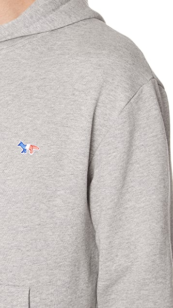 Maison Kitsune Long Sleeve Tricolor Fox Patch Hoodie
