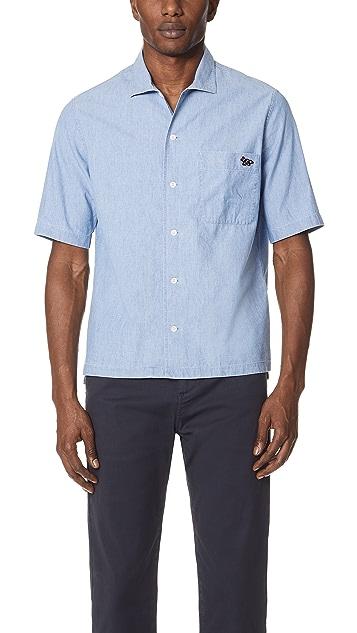 Maison Kitsune Chambray Short Sleeve Shirt