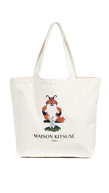 Maison Kitsune Fox Pixel Tote Bag