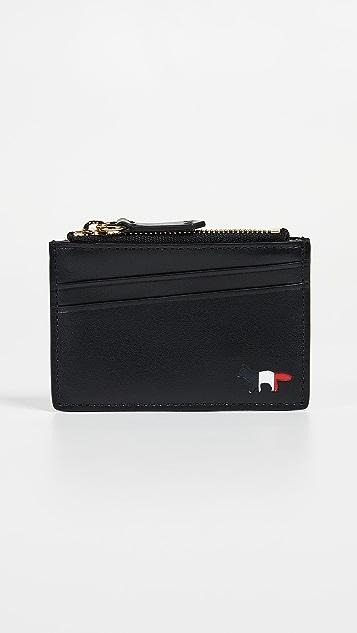 Maison Kitsune Tricolor Zipped Card Holder