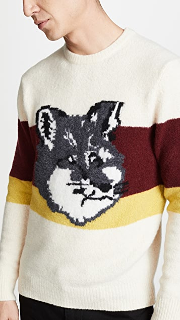 Maison Kitsune Colorblock Fox Head Pullover