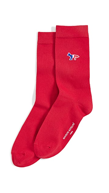 Maison Kitsune Tricolor Fox Socks