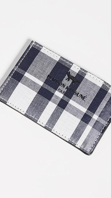 Maison Kitsune Coated Checked Card Holder