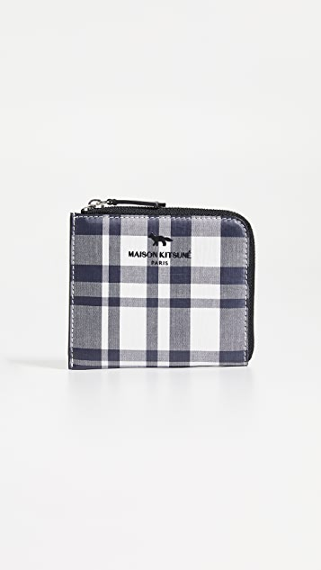 Maison Kitsune Coated Checked Coin Purse