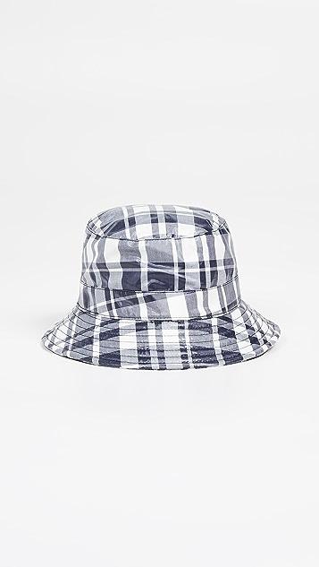 Maison Kitsune Coated Large Check Bucket Hat