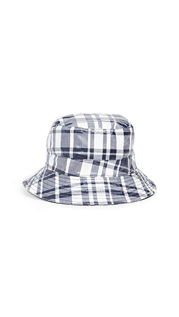 Maison Kitsune Coated Large Check Bucket Hat
