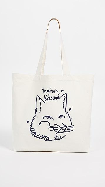 Maison Kitsune Ancora Fox Head Classic Tote