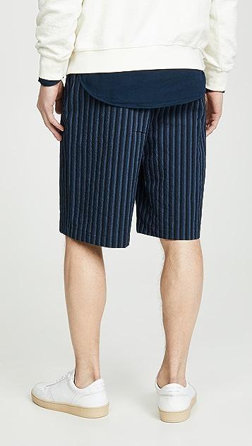 Maison Kitsune Striped Seersucker Stan Bermuda Shorts