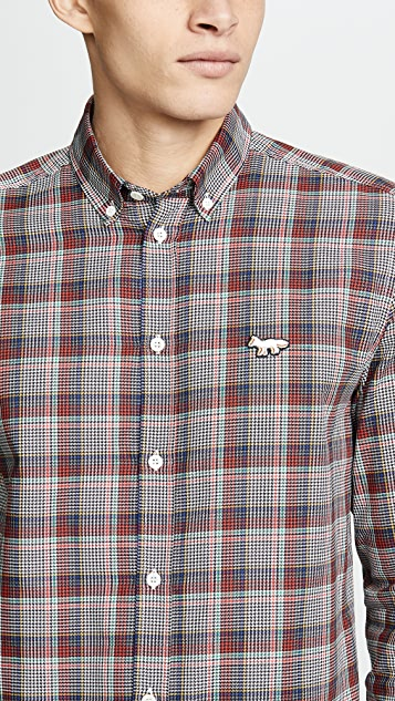Maison Kitsune Prince Of Wales Button Down Shirt