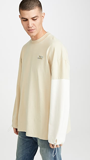 Maison Kitsune Long Sleeve Color Block Oversized T-Shirt