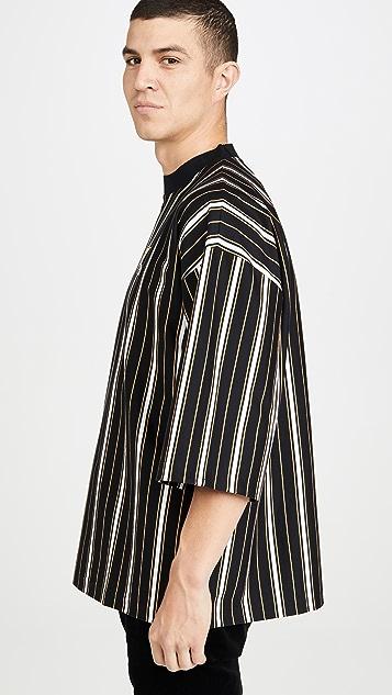 Maison Kitsune Oversized 3/4 Sleeve T-Shirt with Stripes