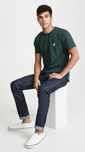 Maison Kitsune Short Sleeve Tee Shirt with Fox Head Patch