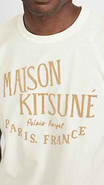Maison Kitsune Short Sleeve Tee Shirt with Palais Royal Print