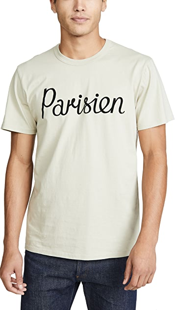 Maison Kitsune Short Sleeve T-Shirt with Parisien Print