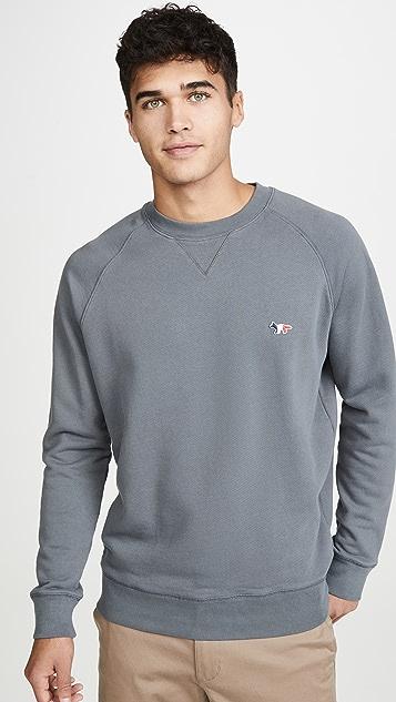 Maison Kitsune Long Sleeve Sweatshirt with Tricolor Fox Patch