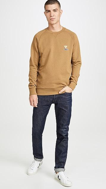 Maison Kitsune Long Sleeve Sweatshirt with  Smiley Fox Patch