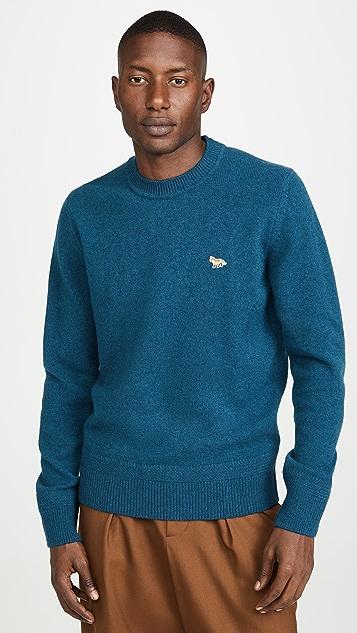 Maison Kitsune Long Sleeve Lambswool Rib Neck Pullover