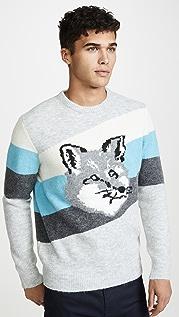 Maison Kitsune Fox Head Diagonal Stripes Pullover