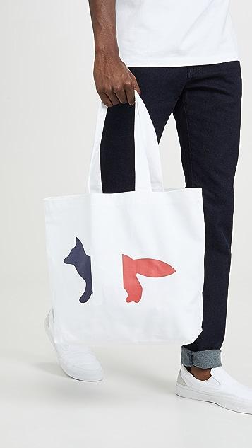 Maison Kitsune Tri-color Fox Tote Bag