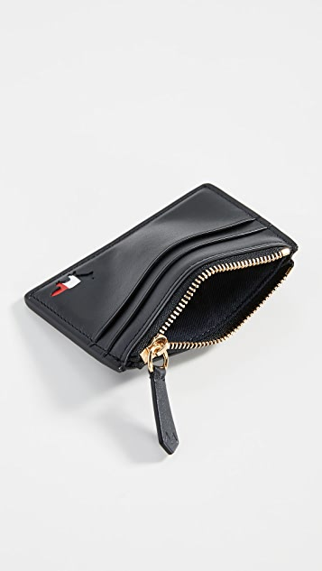 Maison Kitsune Tricolor Zipped Card Holder