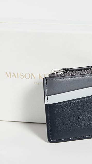 Maison Kitsune Colorblock Zip Card Holder