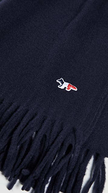Maison Kitsune Tricolor Fox Wool Scarf