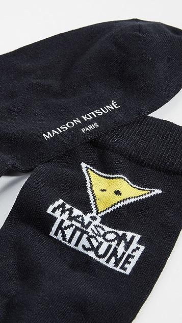 Maison Kitsune Smiley Fox Socks