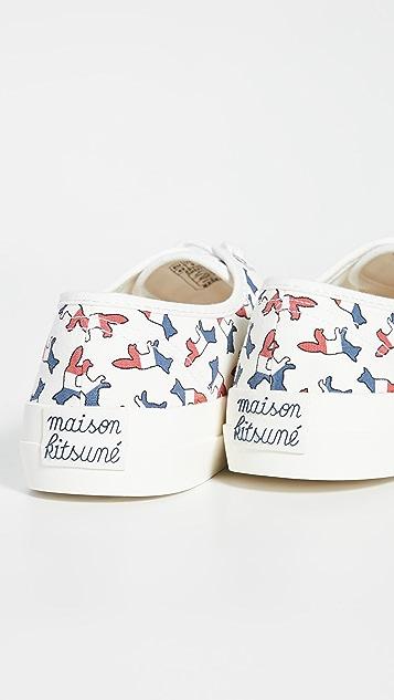 Maison Kitsune Allover Tricolor Fox Canvas Sneakers