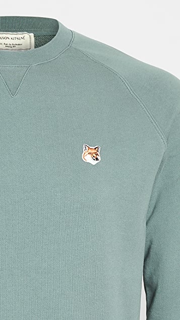 Maison Kitsune Fox Head Patch Crew Neck Sweatshirt