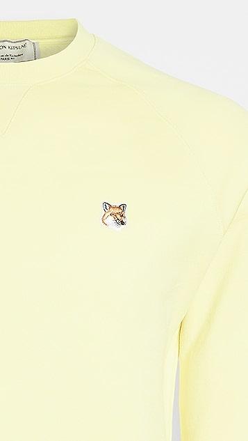Maison Kitsune Fox Head Patch Crew Neck Sweatshirt