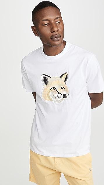 Maison Kitsune Big Embroidered Pastel Fox Head T-Shirt