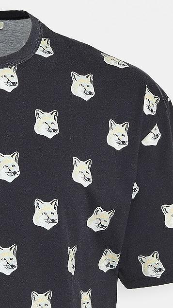 Maison Kitsune All Over Pastel Fox Head T-Shirt