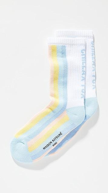 Maison Kitsune Striped Sporty Socks