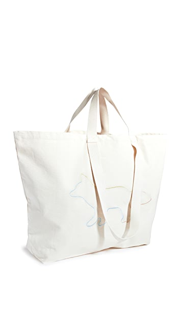 Maison Kitsune Rainbow Profile Fox XXL Tote Bag
