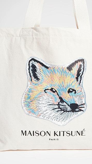 Maison Kitsune Pastel Fox Head Tote Bag