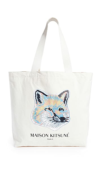 [Maison Kitsune]Pastel Fox Head Tote Bag