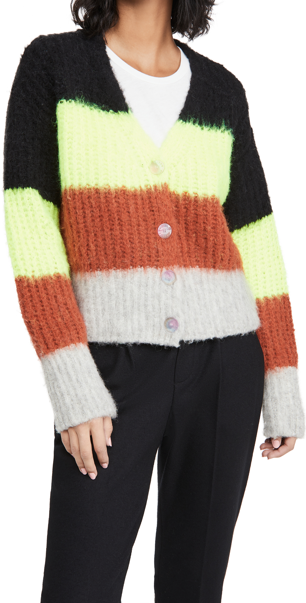 Maison Kitsune Fluffy Stripes Boxy Cardigan