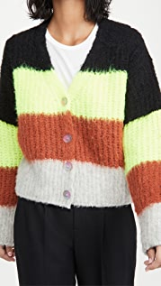 Maison Kitsune Fluffy Stripes Boxy Cardigan