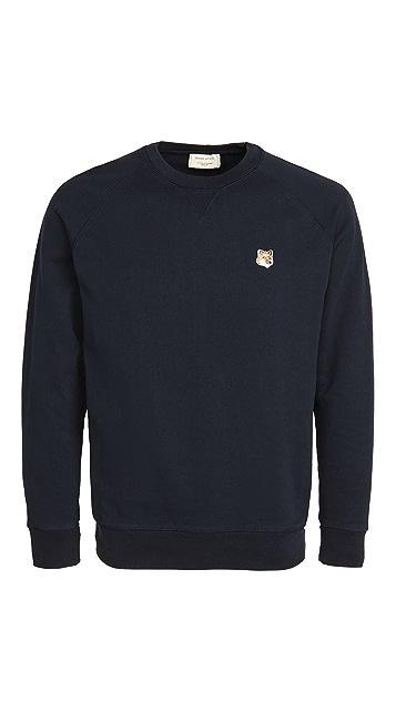 Maison Kitsune Crew Neck Sweatshirt with Fox Head Patch